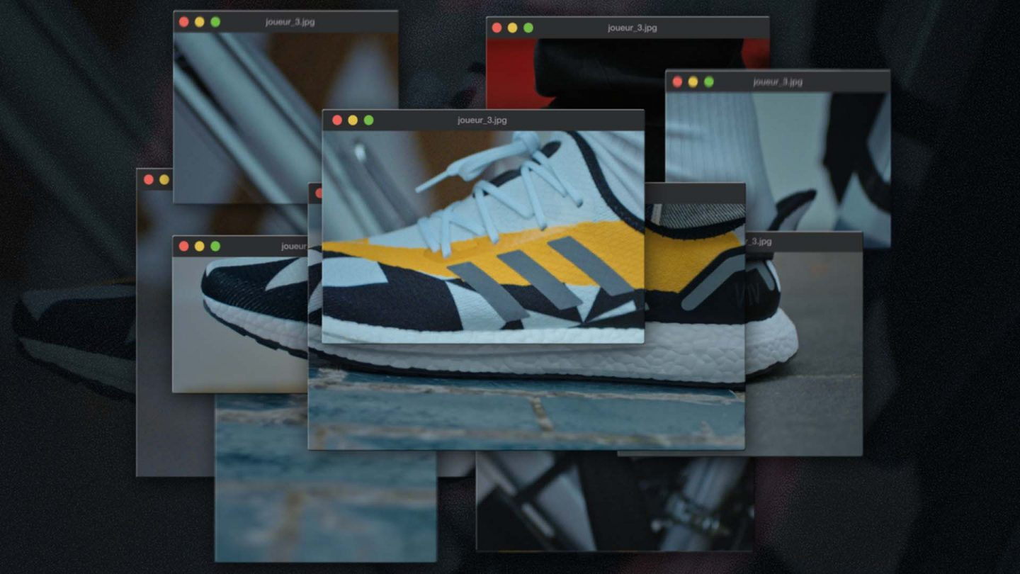 Visual with sneakers, of Adidas & Vitality, by Perimetre a creative studio based in Paris